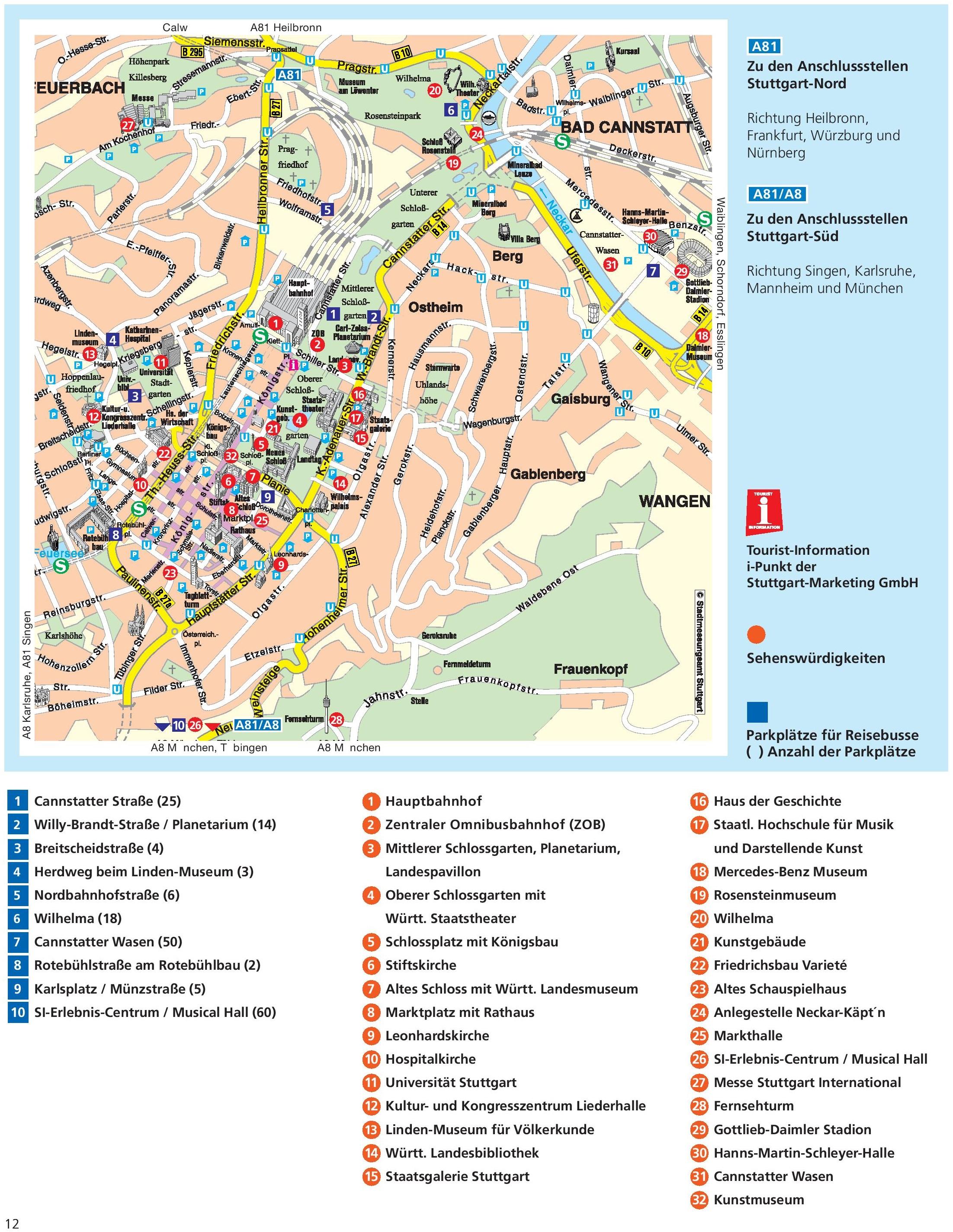 Stuttgart sightseeing map