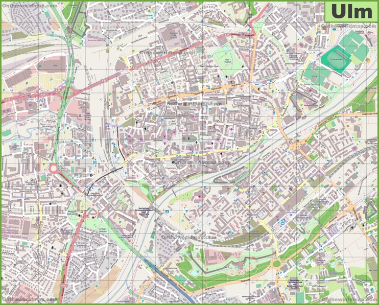 Large detailed map of Ulm