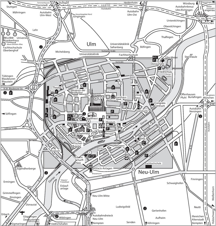 Ulm tourist map
