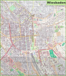 Large detailed map of Wiesbaden