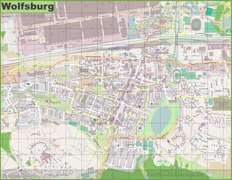 Large detailed map of Wolfsburg