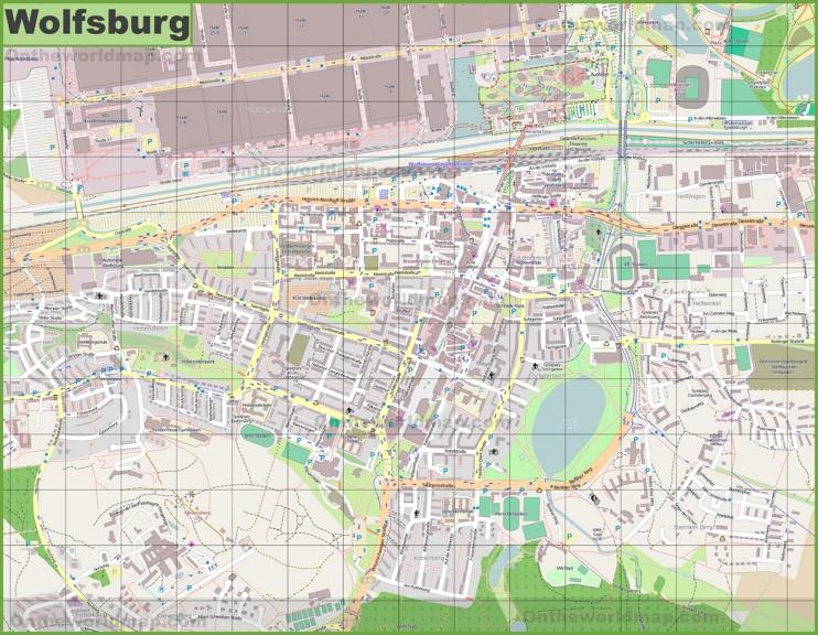 Large detailed map of Wolfsburg
