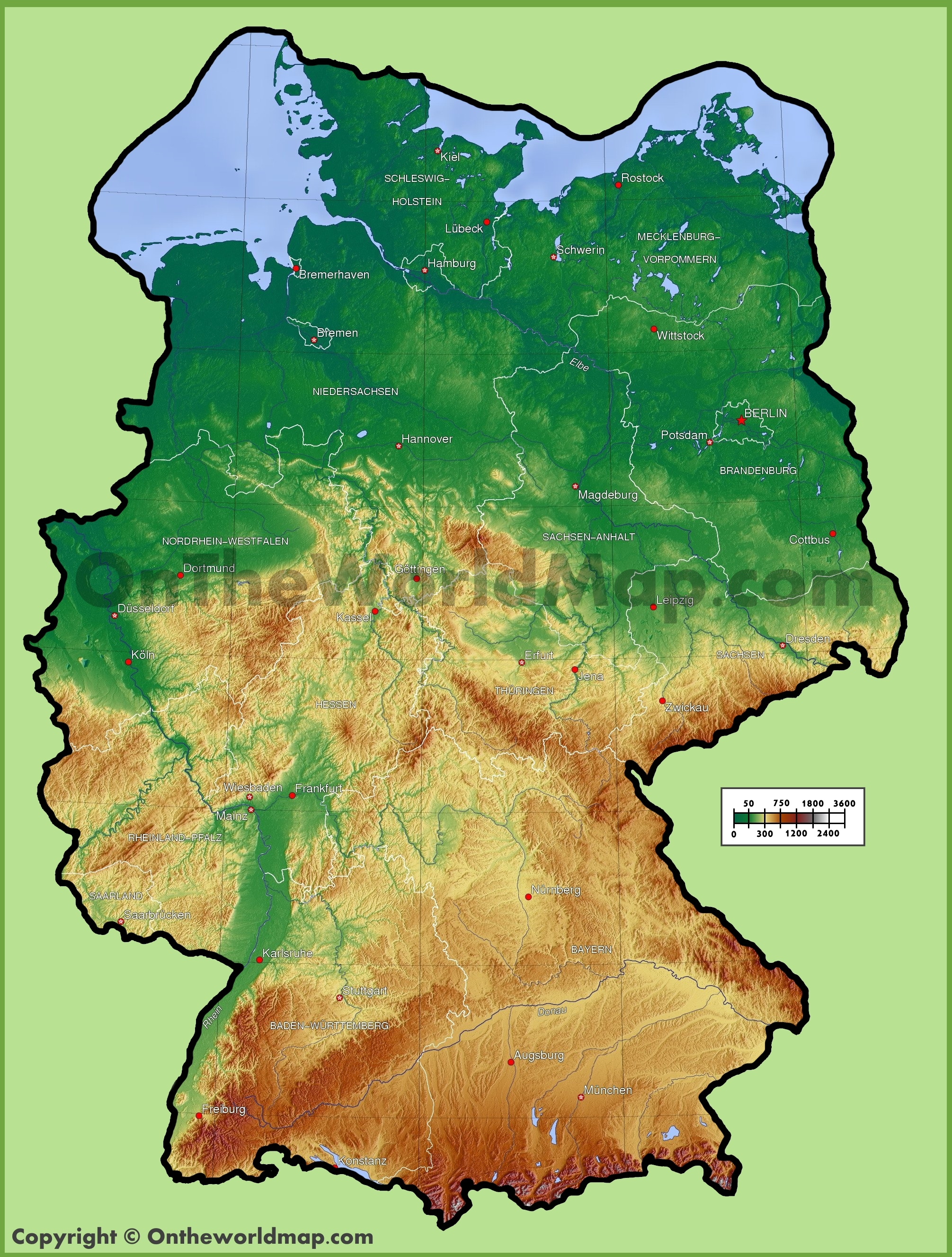 Germany physical map – A Map of Germany