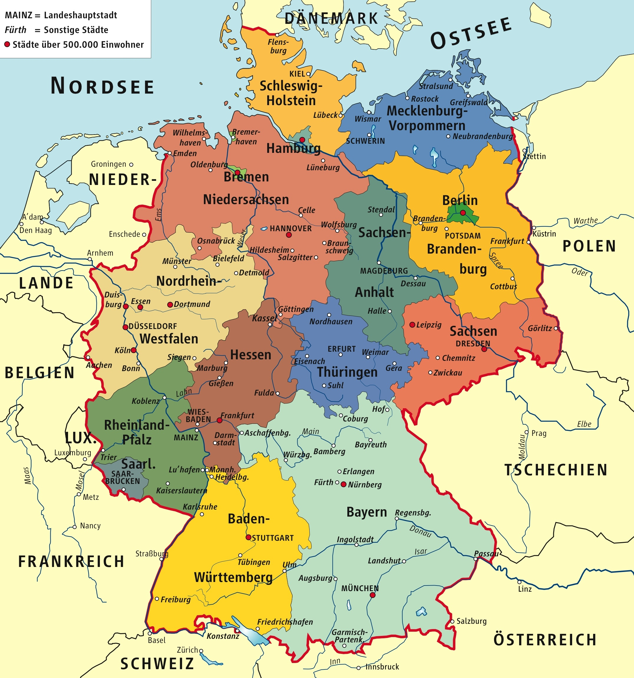 Germany Political Map - Germany map in world map