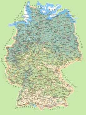 Large detailed map of Germany