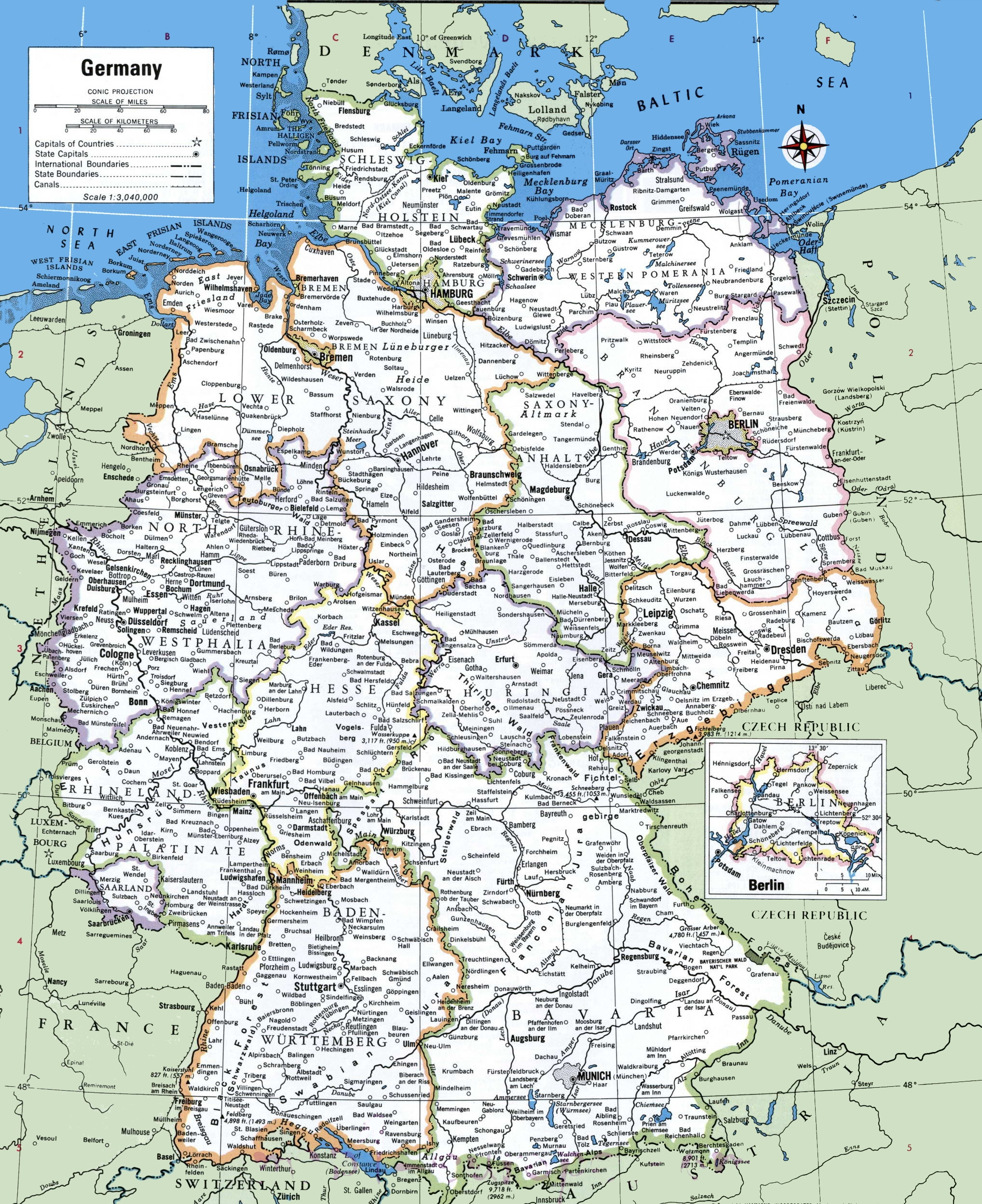Map of Germany with cities and towns