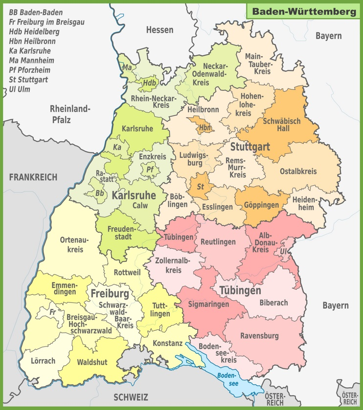 administrative divisions map of baden w rttemberg. Black Bedroom Furniture Sets. Home Design Ideas