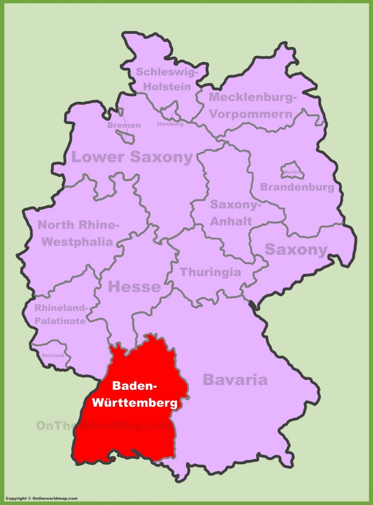 baden w rttemberg location on the germany map. Black Bedroom Furniture Sets. Home Design Ideas