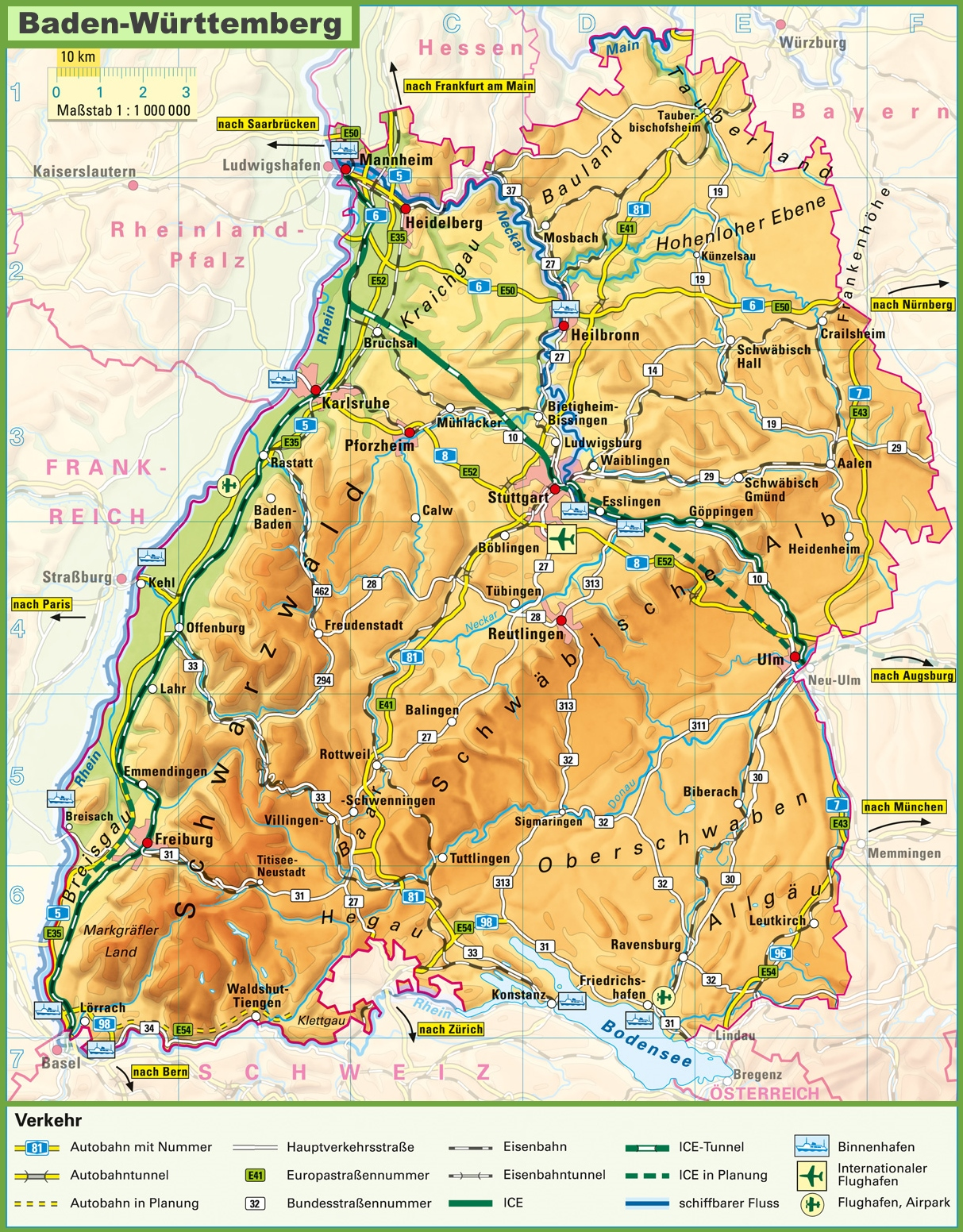 Large detailed map of BadenWrttemberg