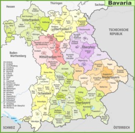 Administrative divisions map of Bavaria