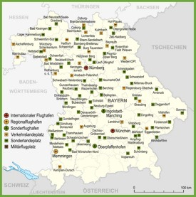 Map of airports in Bavaria