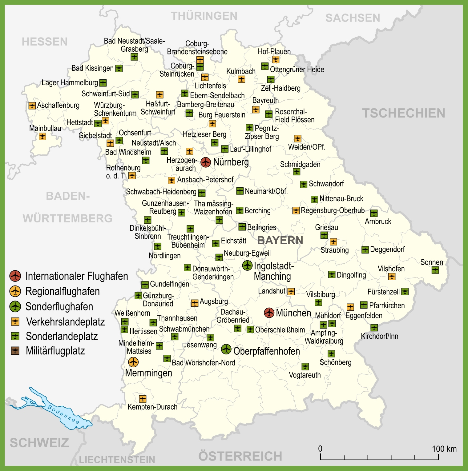 Neustadt Germany Map.Map Of Airports In Bavaria
