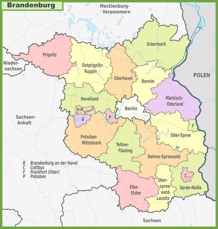 Administrative divisions map of Brandenburg
