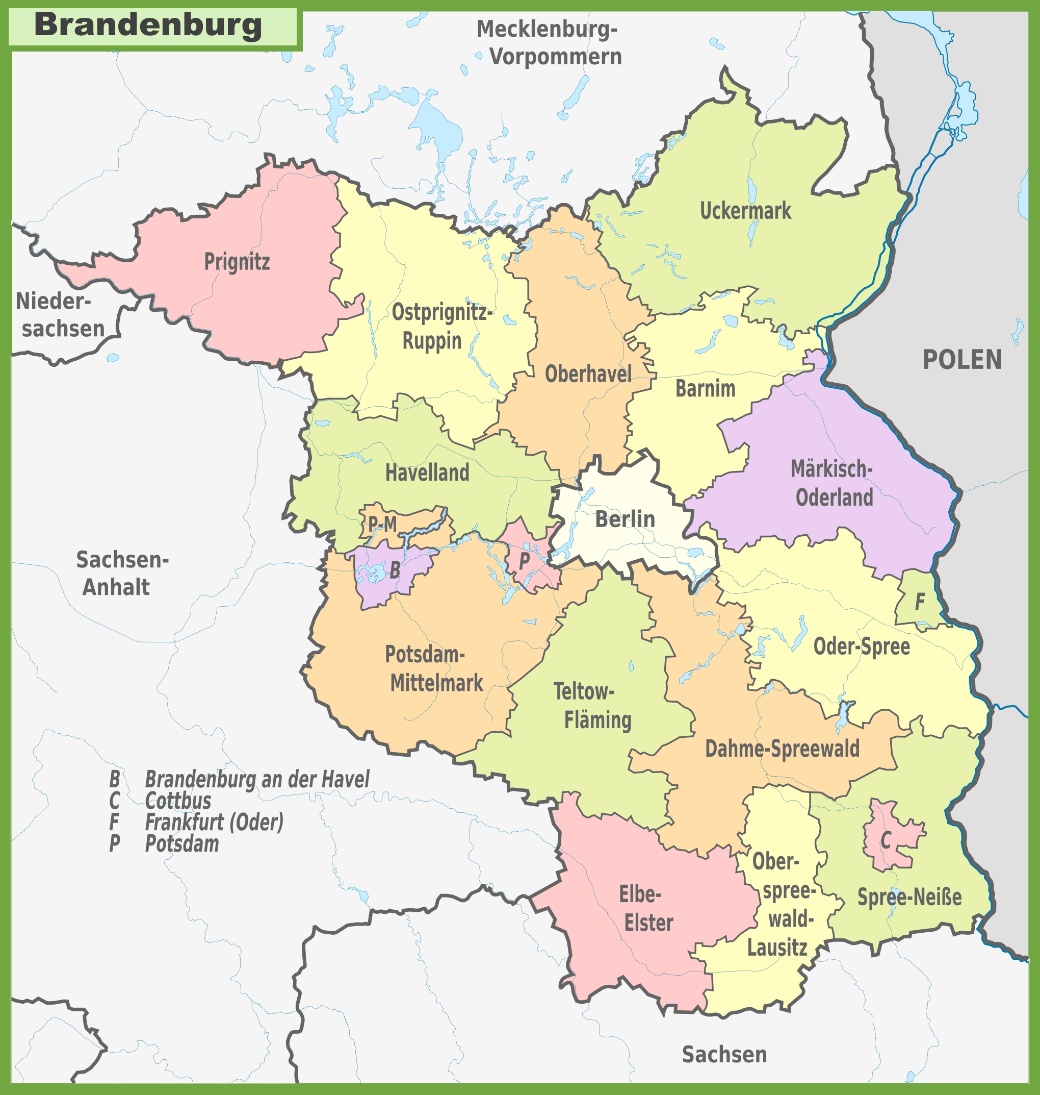 Administrative divisions map of Brandenburg