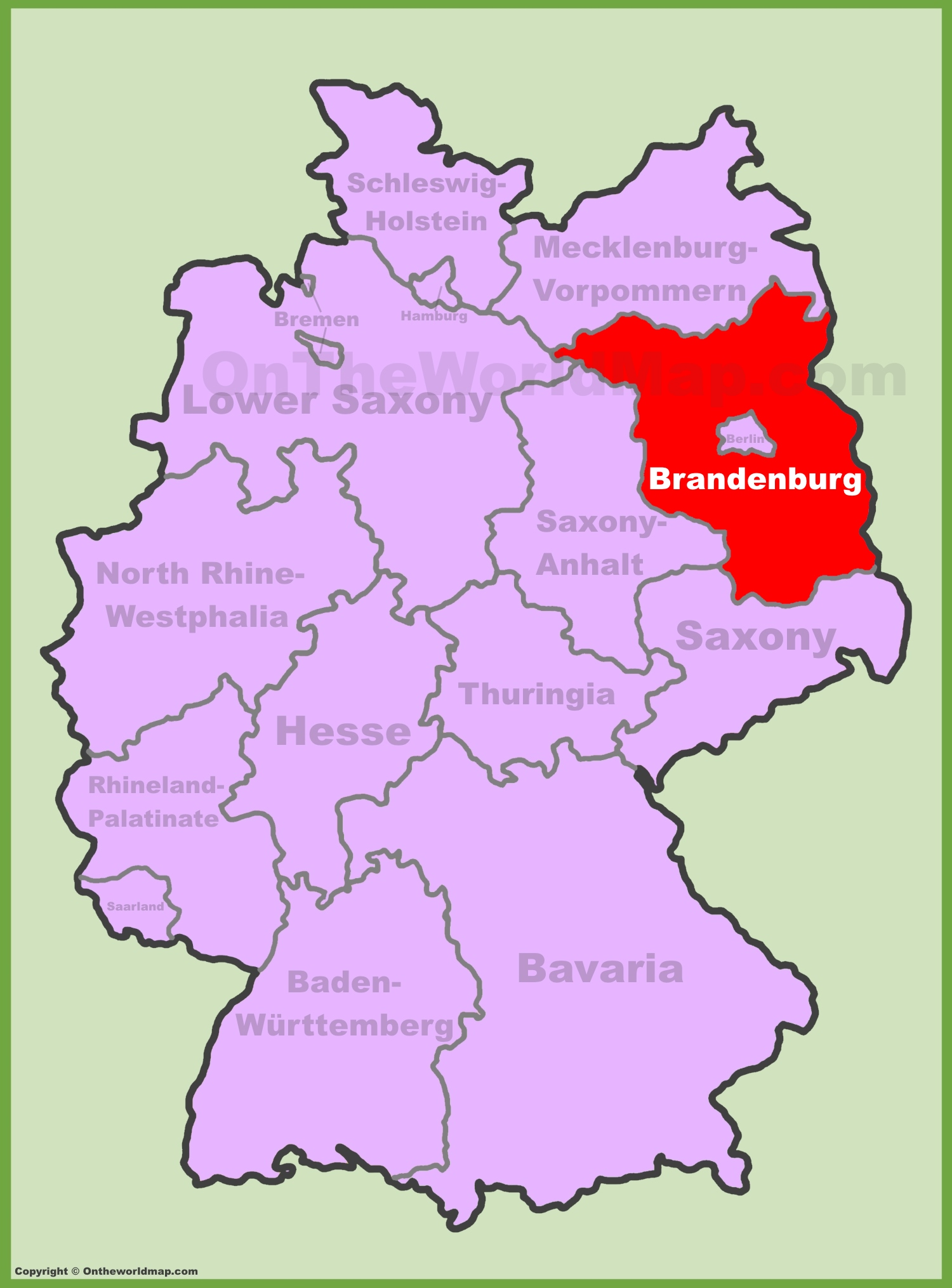 Brandenburg location on the Germany map