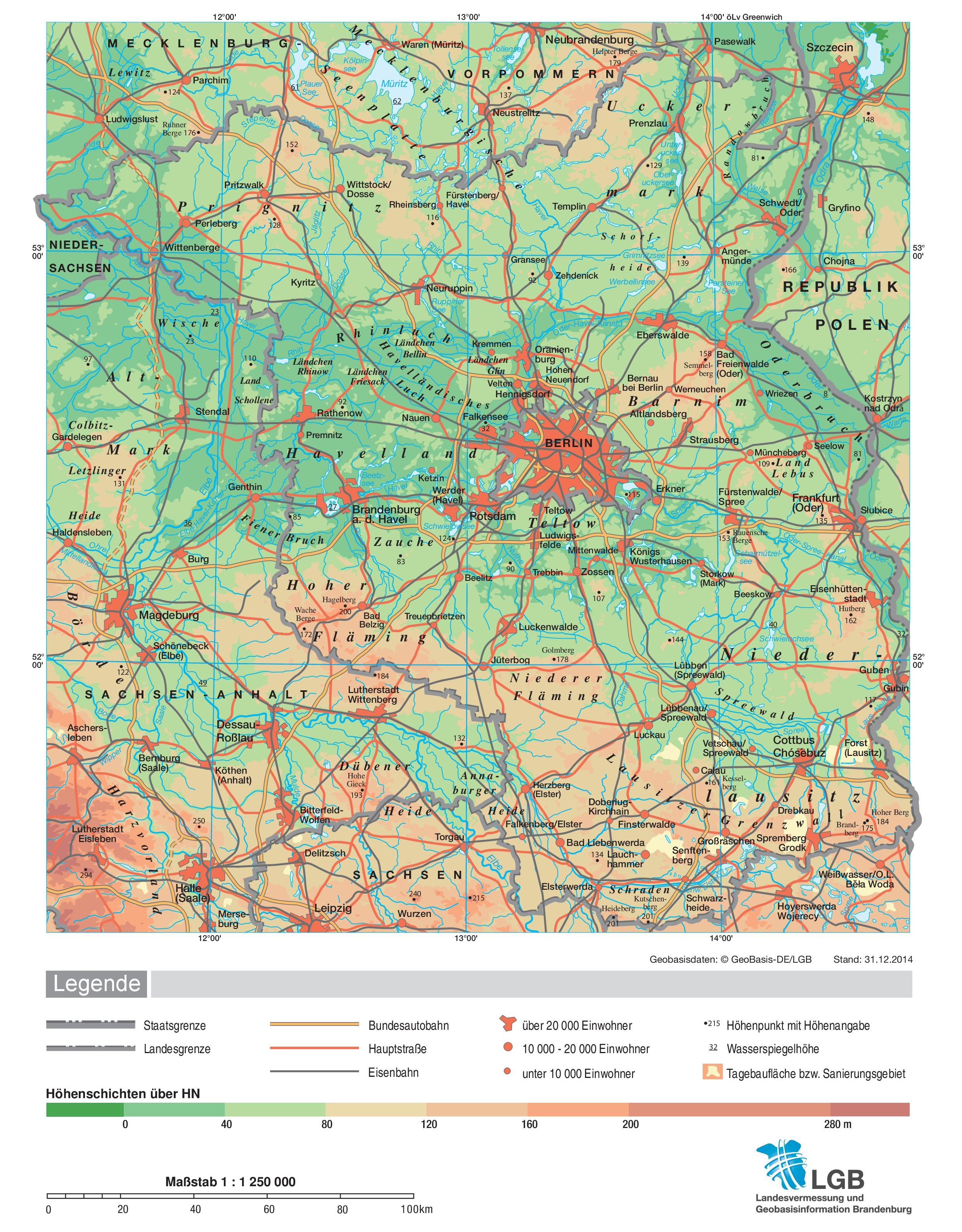 Large Detailed Map Of Brandenburg
