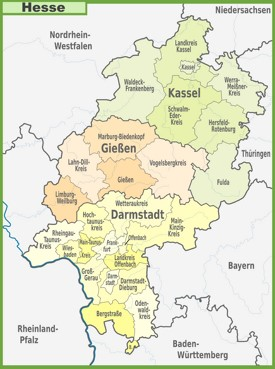 Administrative divisions map of Hesse
