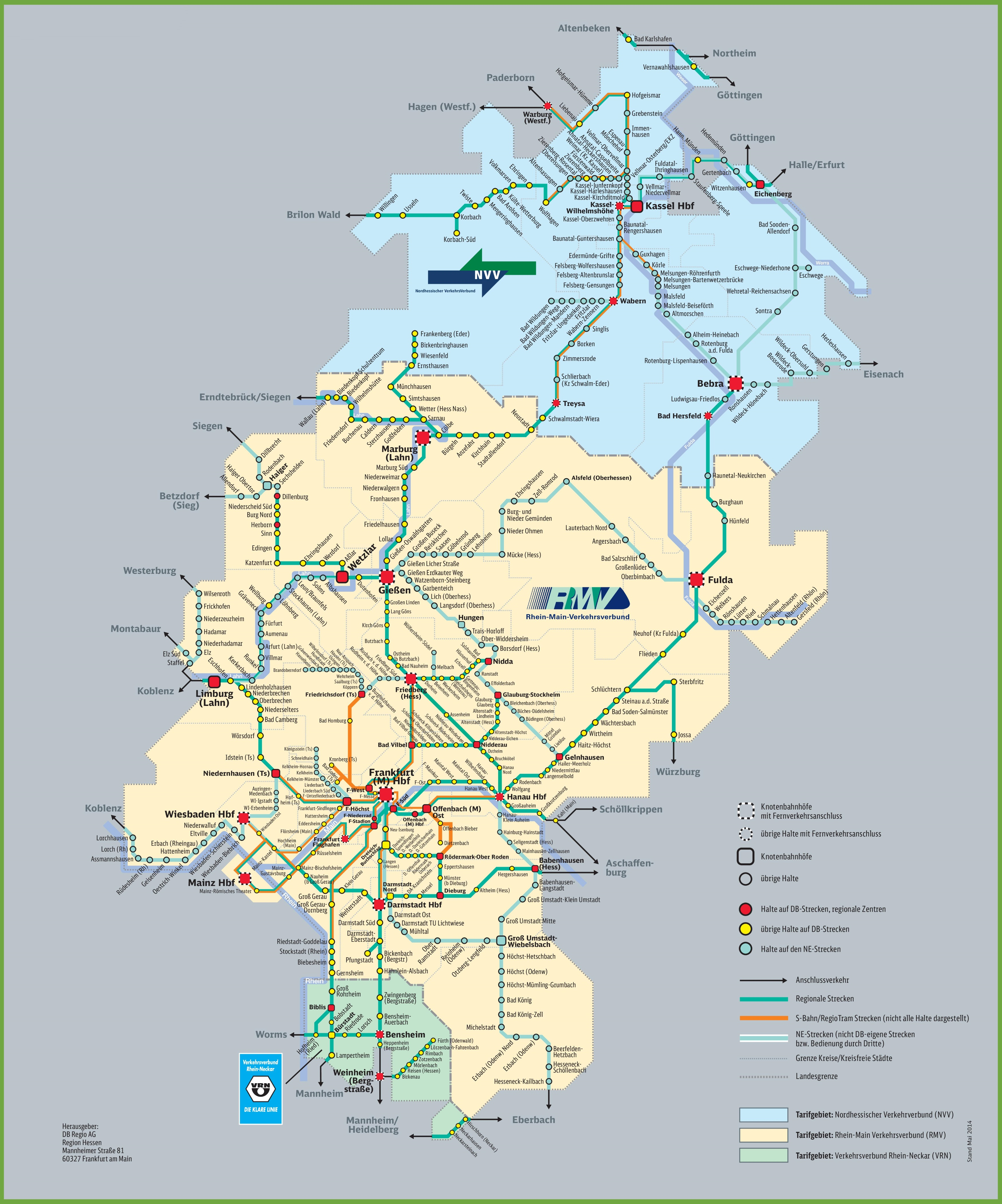 Hesse railway map