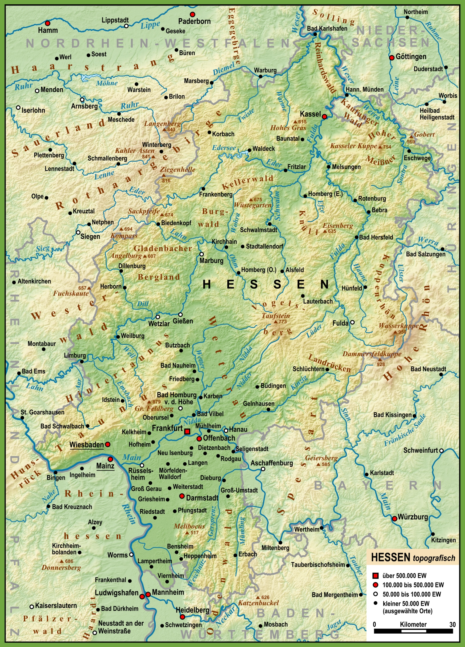 Large detailed map of Hesse