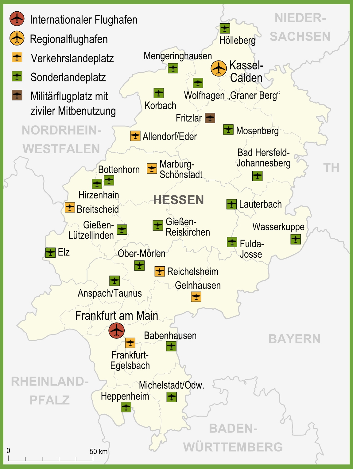 Map of airports in Hesse