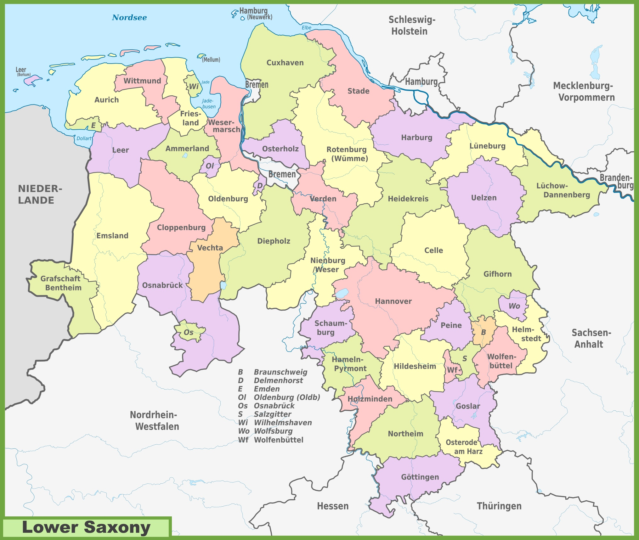 Administrative divisions map of Lower Saxony
