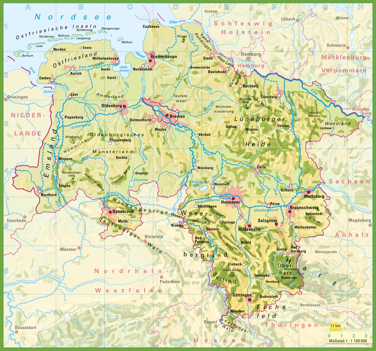 Lower Saxony physical map