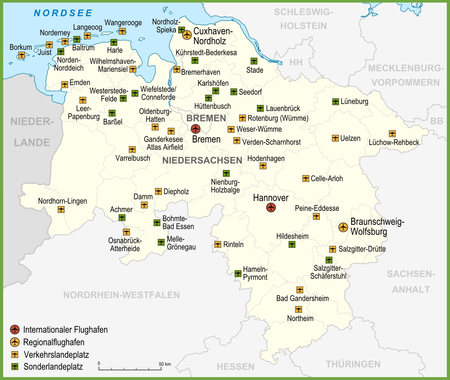 map of airports in lower saxony