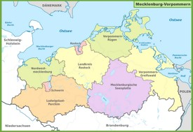 Administrative divisions map of Mecklenburg-Vorpommern