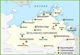 Map of airports in Mecklenburg-Vorpommern