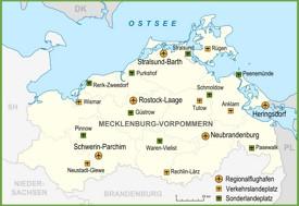 Map of airports in Mecklenburg-Vorpommern
