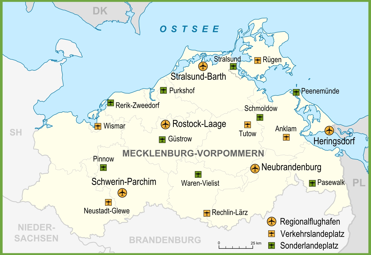Map of airports in MecklenburgVorpommern