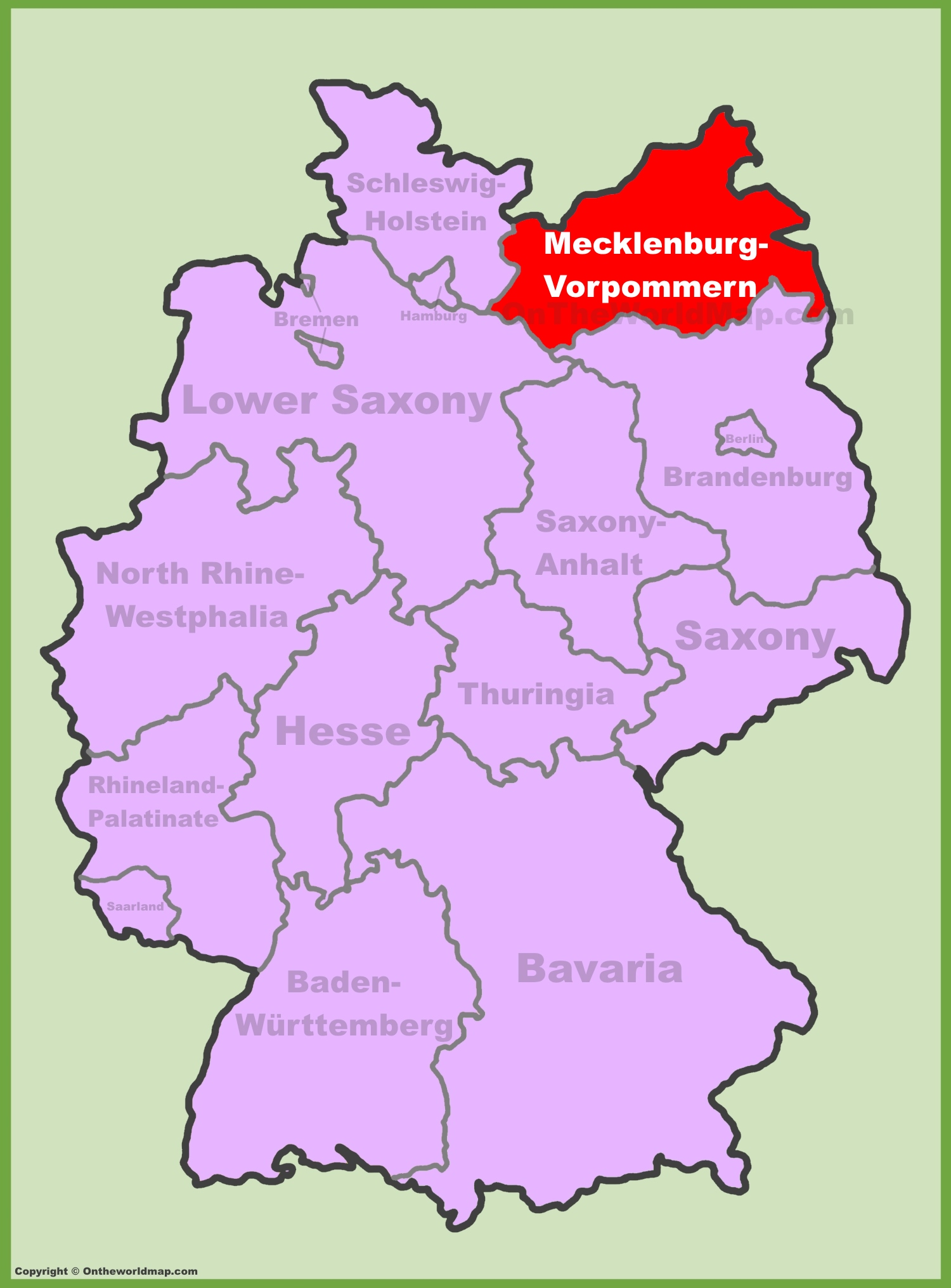 MecklenburgVorpommern location on the Germany map