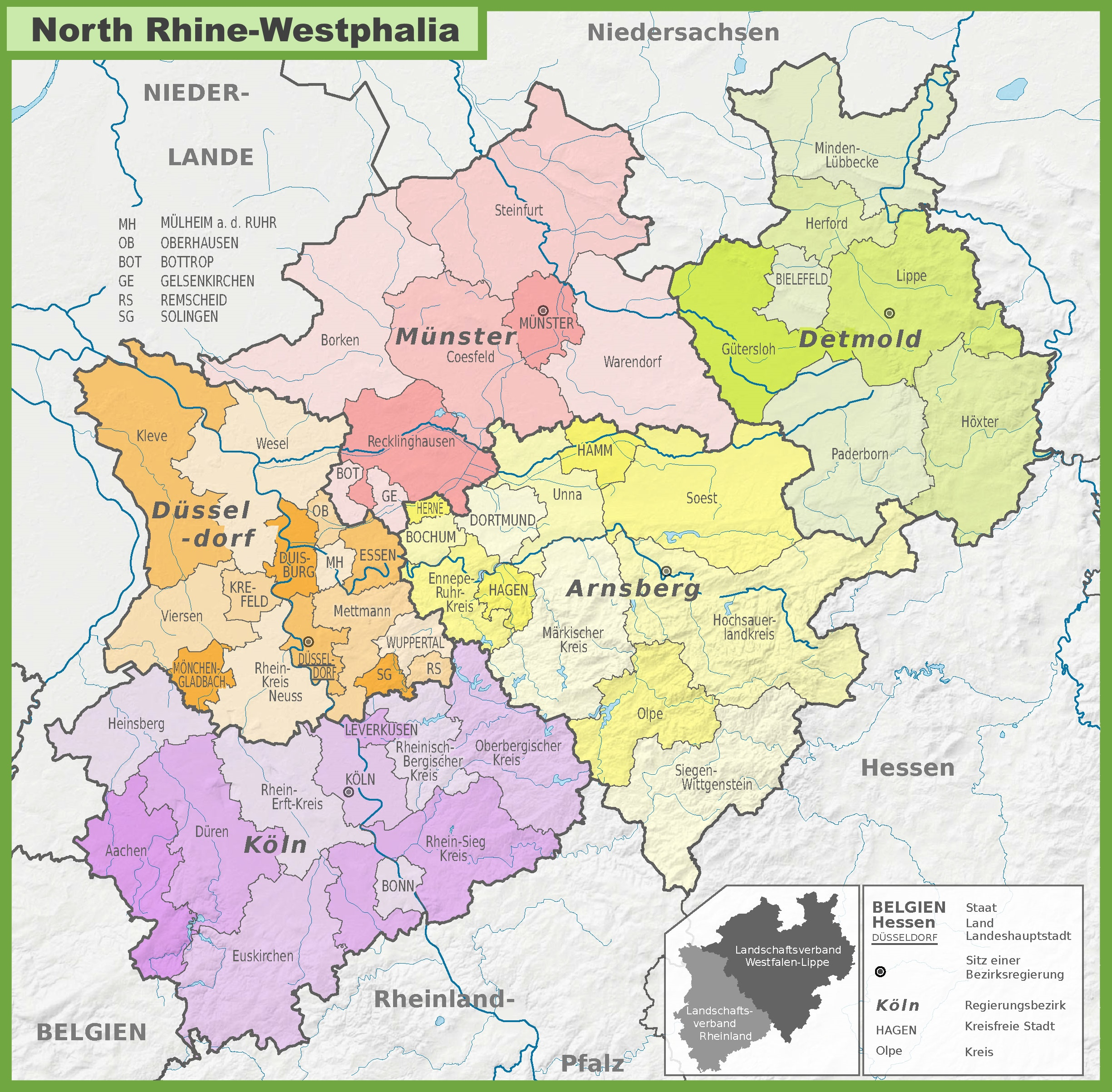 Administrative divisions map of North RhineWestphalia