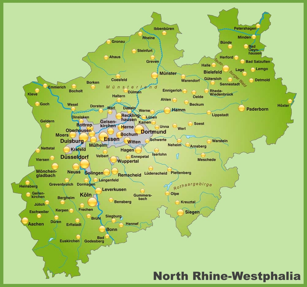 Map of North Rhine-Westphalia with cities and towns