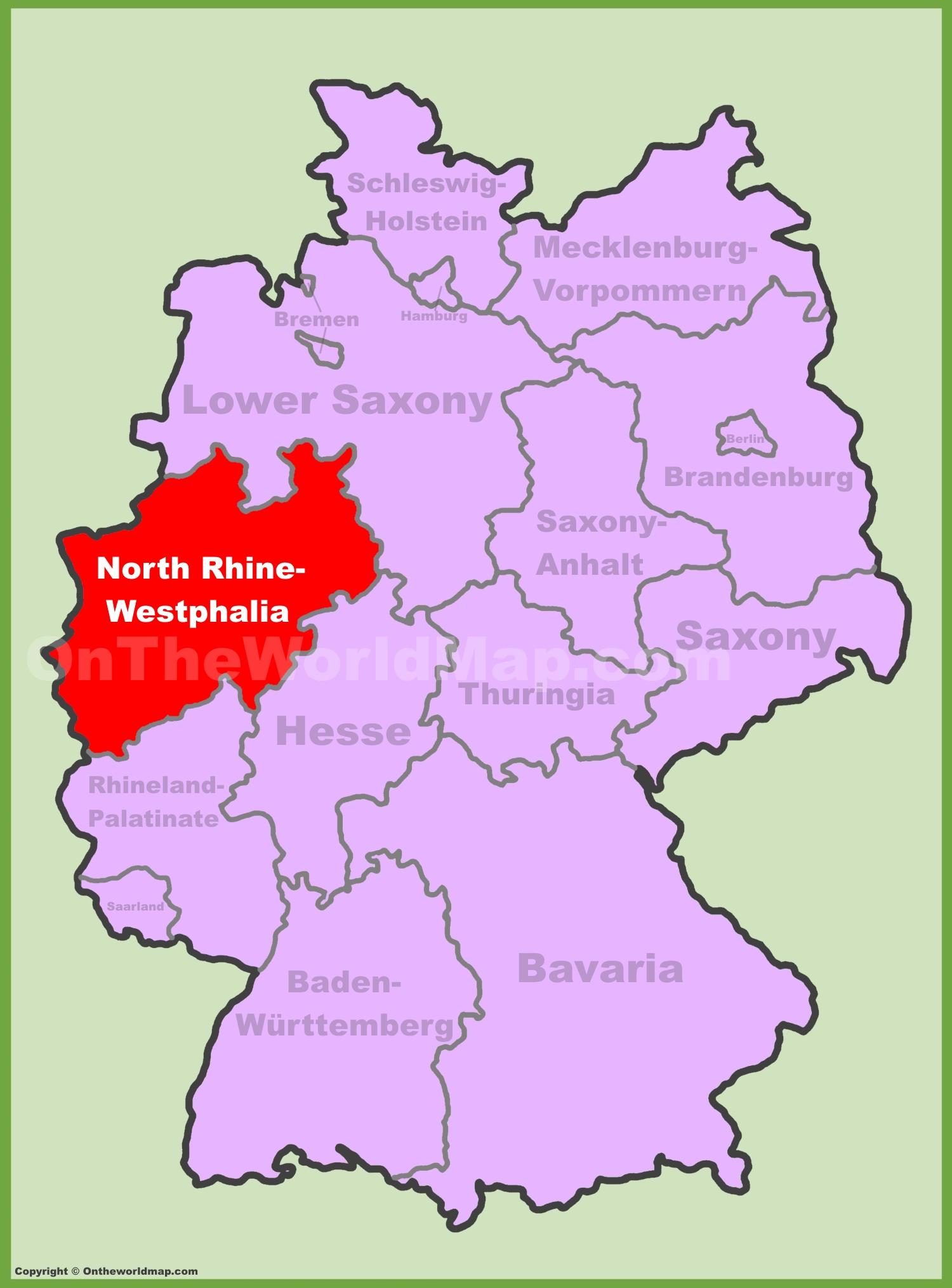 NorthrhNorth RhineWestphalia Location On The Germany Map - Germany map rhine