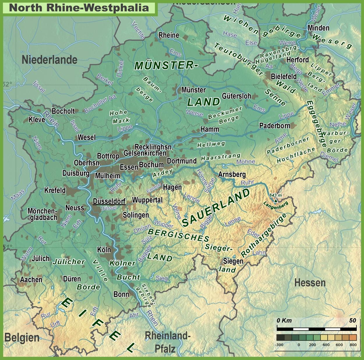 North RhineWestphalia physical map