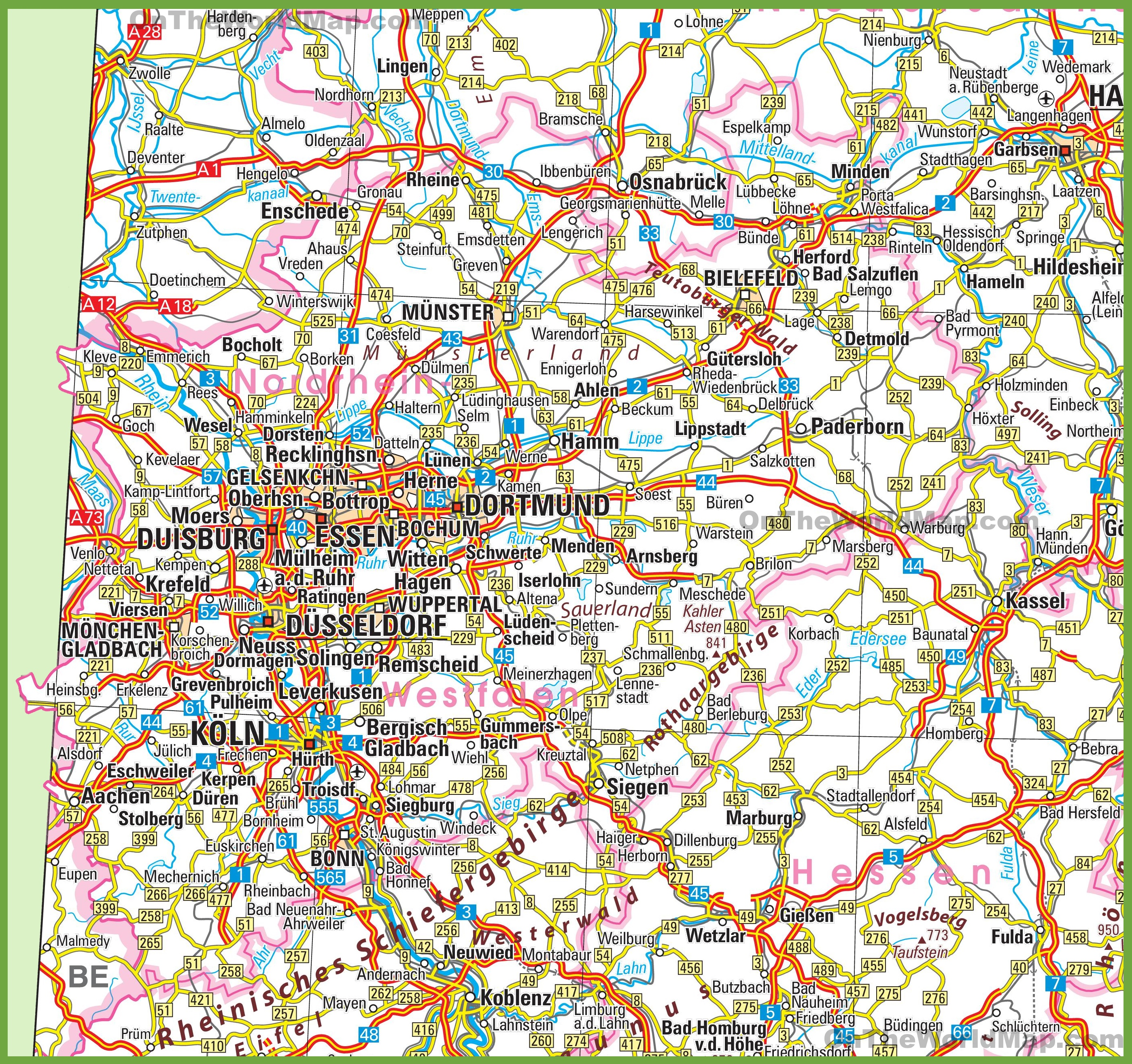 North Rhine-Westphalia road map on detailed map germany, overview of germany, mop of germany, features of germany, road map western germany, online maps germany, culture of germany, resources of germany, introduction of germany, terrain of germany, architecture of germany, partners of germany, environment of germany, education of germany, map of germany, blueprint of germany, team of germany, products of germany,