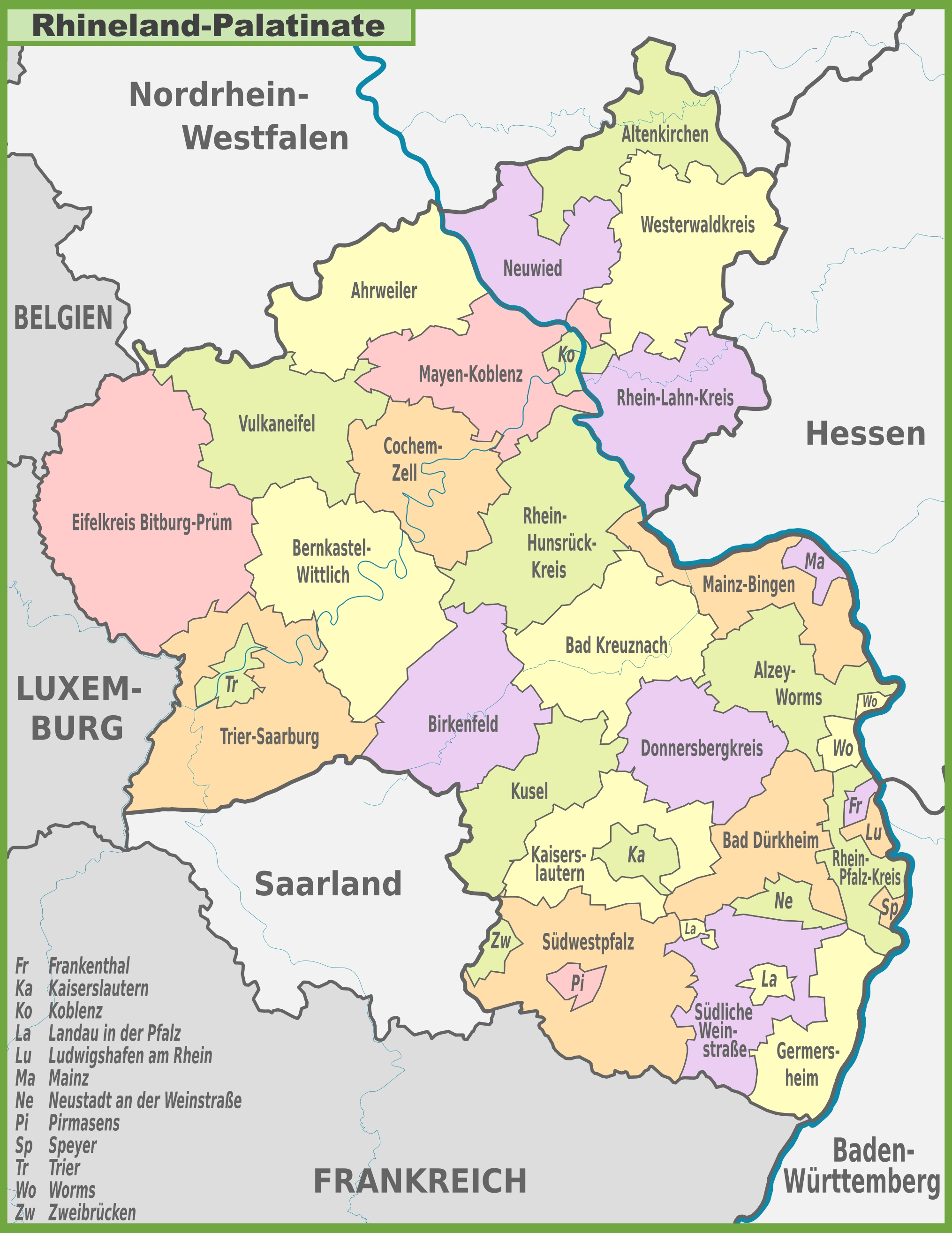 Administrative divisions map of RhinelandPalatinate
