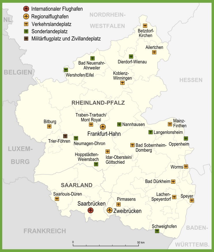 Map of airports in Rhineland-Palatinate