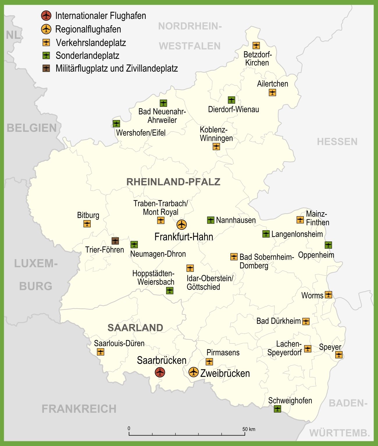 Map of airports in RhinelandPalatinate
