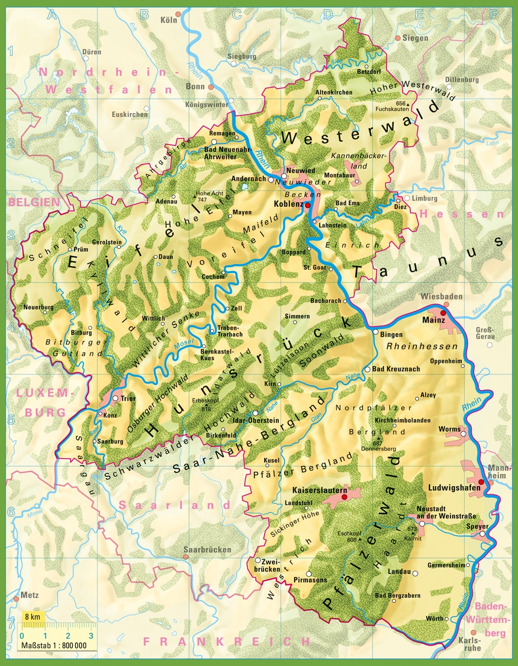 RhinelandPalatinate Physical Map - Germany physical map