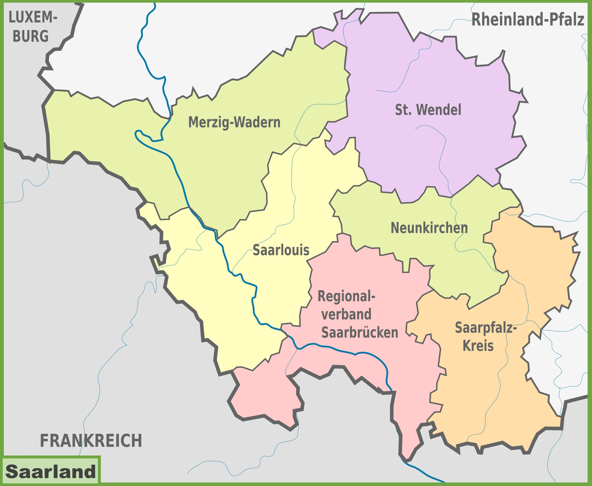 Administrative divisions map of Saarland