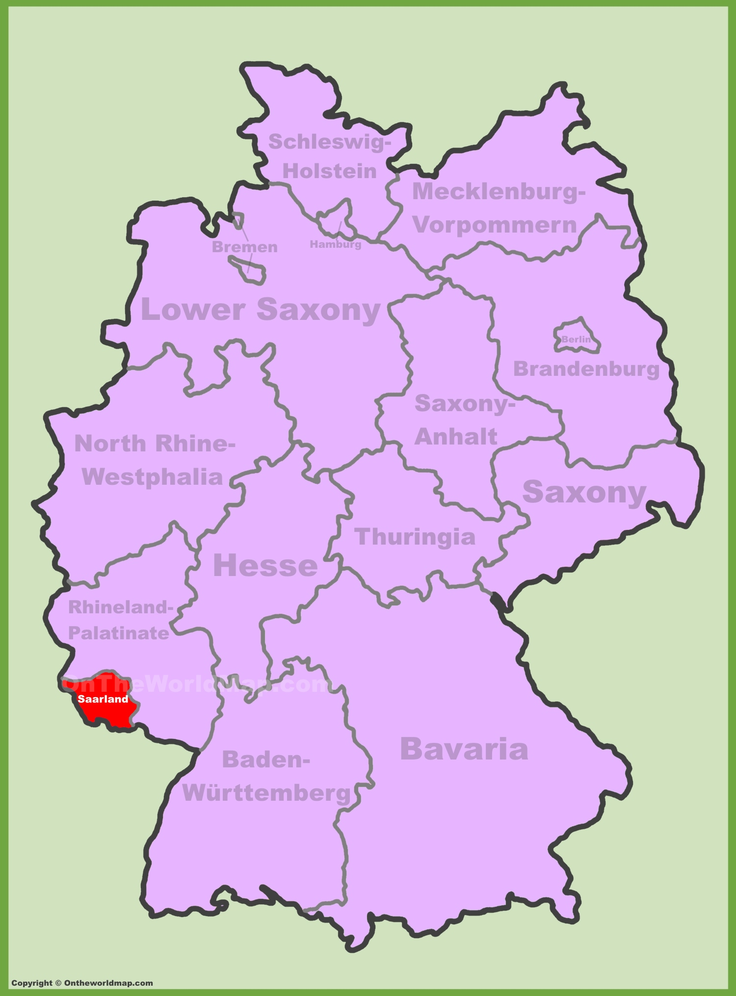 saarland location on the germany map