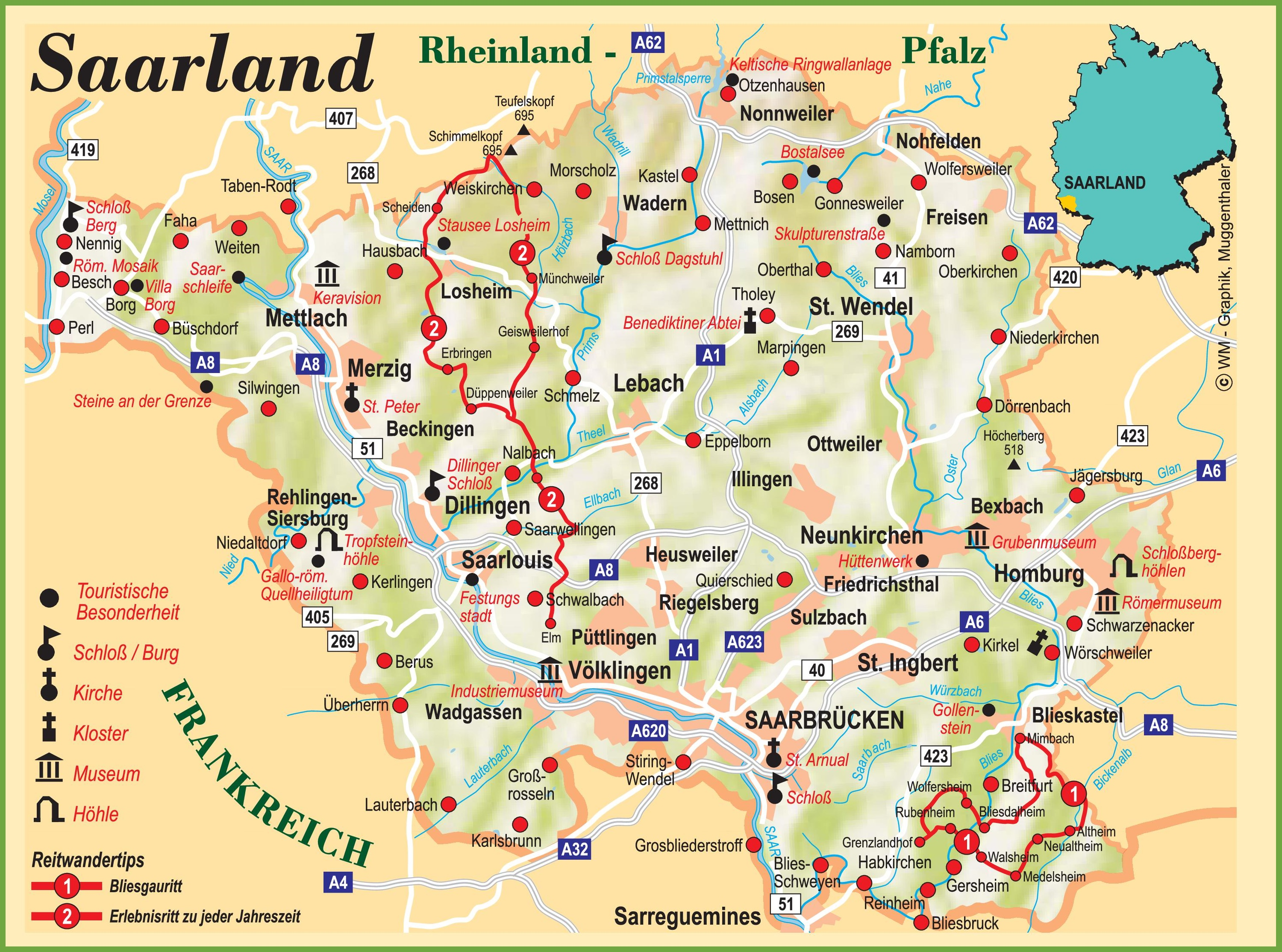 Tourist Map Of Germany.Saarland Tourist Map