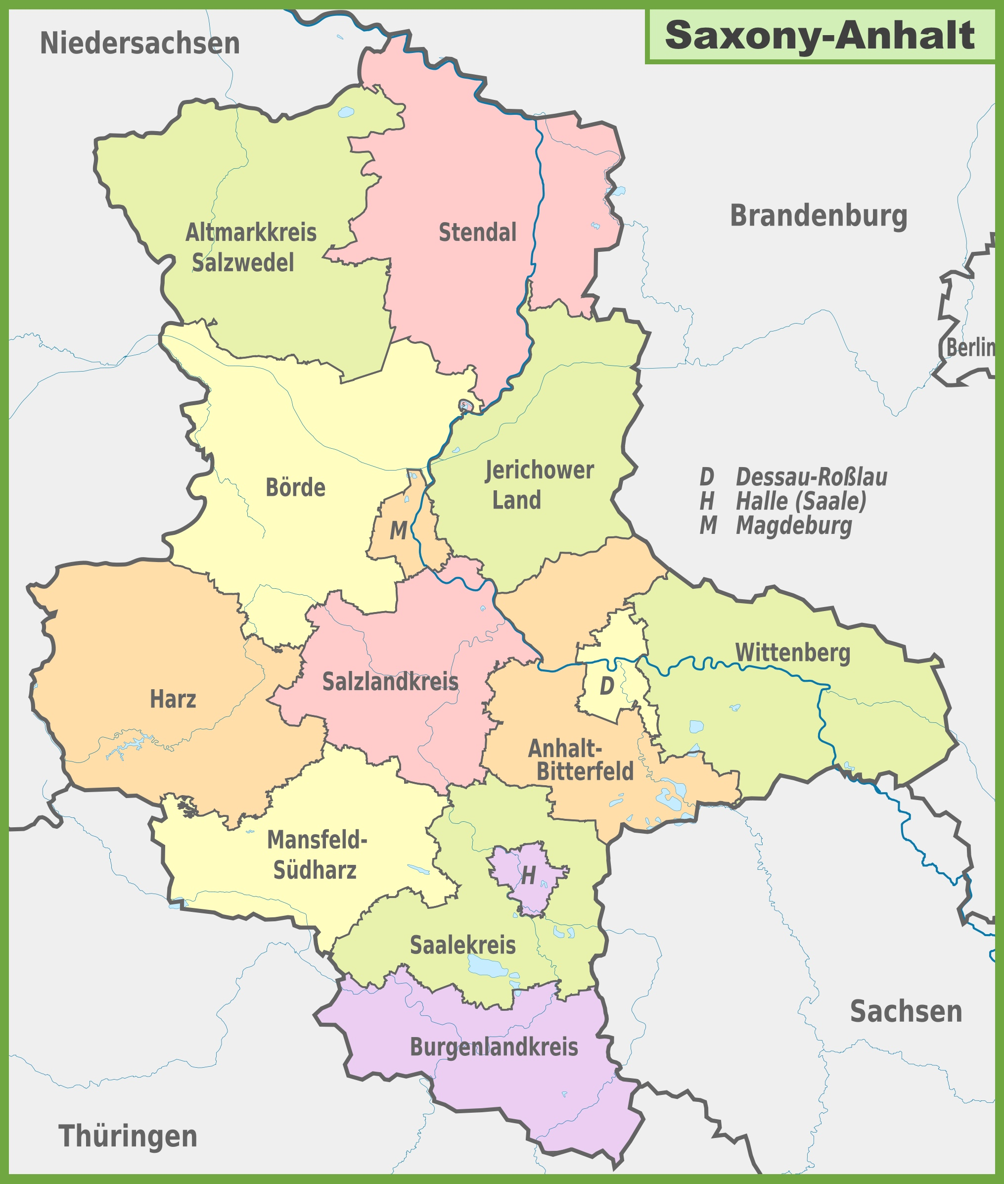 Administrative divisions map of SaxonyAnhalt
