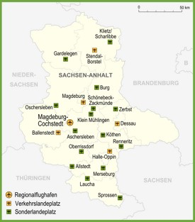 Map of airports in Saxony-Anhalt