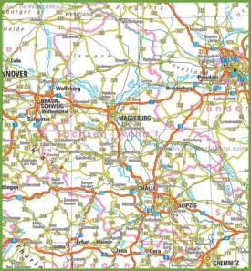Saxony-Anhalt road map