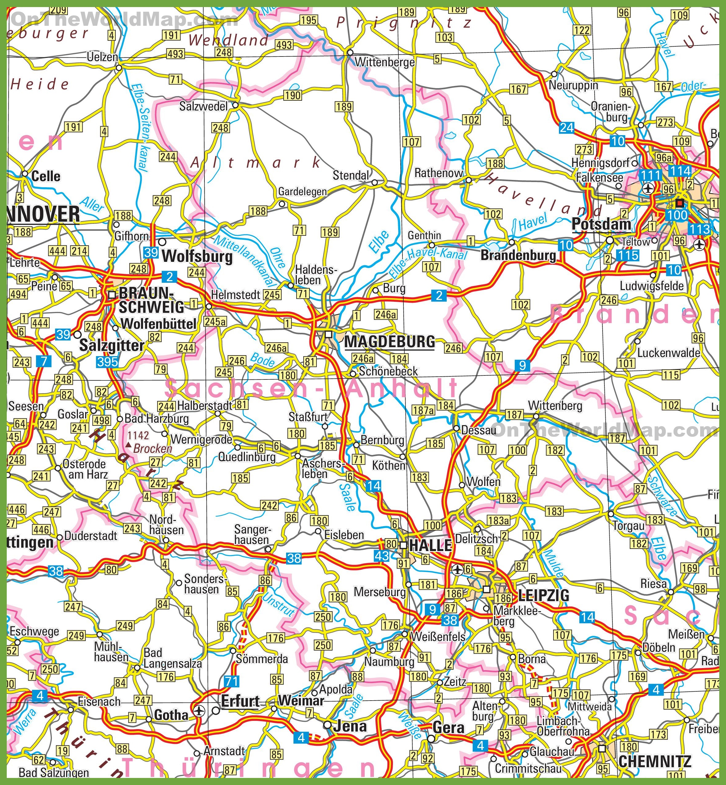 SaxonyAnhalt Maps Germany Maps of SaxonyAnhalt SachsenAnhalt