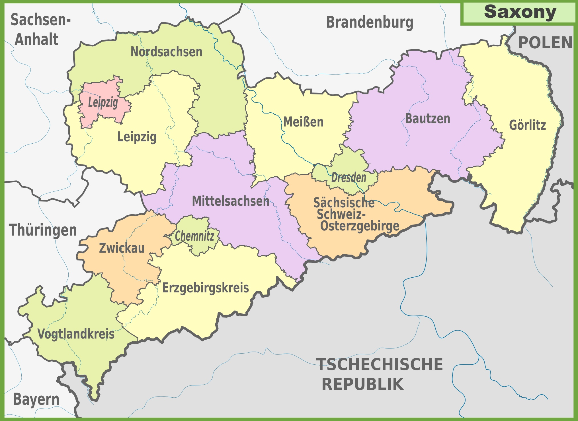 Administrative divisions map of Saxony
