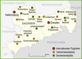 Map of airports in Saxony